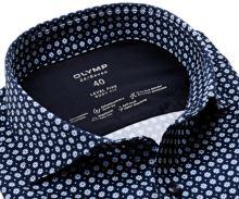 Koszula Olymp Level Five 24/Seven – ciemnoniebieska luksusowa elastyczna z jasnym wzorem - extra długi rękaw