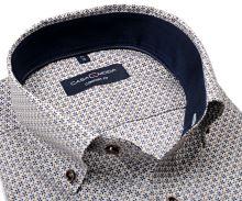 Koszula Casa Moda Comfort Fit – w niebiesko-beżowy wzór z ciemnoniebieską wewnętrzną stójką