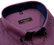 Koszula Eterna Modern Fit – w czerwono-niebieską kratkę z wewnętrznym kołnierzykiem - krótki rękaw