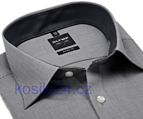 Koszula Olymp Level Five – w czarną krateczkę z kołnierzykiem i mankietami