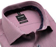Koszula Olymp Level Five – z bordowym wzorem, z wewnętrzną stójką i mankietem