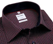 Koszula Olymp Comfort Fit – ciemnoniebieska z czerwono-białym wzorem - krótki rękaw