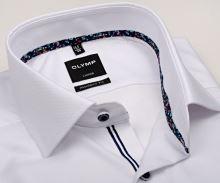 Koszula Olymp Modern Fit – biała z delikatnym wzorem i kolorowym wewnętrznym mankietem - extra długi rękaw