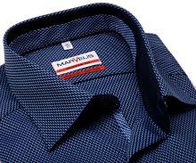Koszula Marvelis Modern Fit – niebieska w wyszyty wzór kaskady z wewnętrzną stójką i plisą