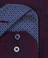 Koszula Eterna Comfort Fit Twill – ciemna czerwono-niebieska z kołnierzykiem wewnętrznym - extra długi rękaw
