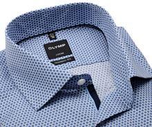 Koszula Olymp Modern Fit – z niebieskim wzorem sześciokątu - extra długi rękaw