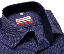 Koszula Marvelis Modern Fit – fioletowa z ruźowym wyszytym wzorem i wewnętrzną stójką - extra długi rękaw
