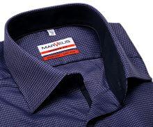 Koszula Marvelis Modern Fit – fioletowa z ruźowym wyszytym wzorem i wewnętrzną stójką