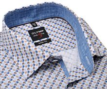 Koszula Olymp Level Five – z niebiesko-brązowymi muszelkami i wewnętrzną stójką - extra długi rękaw