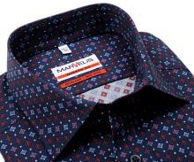 Koszula Marvelis Modern Fit – granatowa z czerwono-różowo-niebieskim wzorem