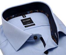 Koszula Olymp Modern Fit – jasnoniebieska z wplecionym wzorem i granatową wewnętrzną stójką - extra długi rękaw