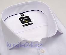 Biała luksusowa koszula Olymp Super Slim Diamant Twill – ze strukturą diagonalną