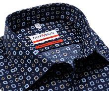 Koszula Marvelis Modern Fit - ciemnoniebieska z beżowo-niebieskimi ornamentami - extra długi rękaw