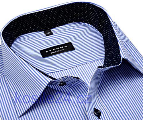 Koszula Eterna Comfort Fit Twill – w niebieskie prążki, z kołnierzykiem wewnętrznym, mankietami i plisą