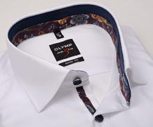 Koszula Olymp Level Five – luksusowa biała z diagonalną strukturą, wewnętrzną stójką, mankietem i plisą