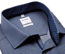 Koszula Olymp Comfort Fit – ciemnoniebieska z diagonalną strukturą, wewnętrzną stójką i mankietem