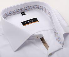 Koszula Eterna Slim Fit – biała z strukturą, z jasnoniebiesko-beżową wewnętrzną stójką - extra długi rękaw