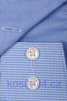 Koszula Olymp Luxor Modern Fit – jasnoniebieska ze wzorem, kołnierzykiem, mankietami i plisą
