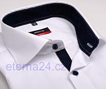 Koszula Eterna Comfort Fit Fine Oxford – biała z granatowym kołnierzykiem wewnętrznym, mankietami i plisą