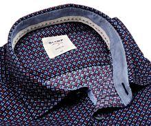 Koszula Olymp Level Five Casual – ciemnoniebieska z czerwono-białym wzorem, wewnętrzną stójką i plisą