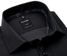 Koszula Olymp Modern Fit – czarno-szara z delikatnym wzorem i wewnętrzną stójką - extra długi rękaw