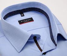 Koszula Eterna Modern Fit – jasnoniebieska o delikatnej strukturze z wewnętrzną stójką - super długi rękaw