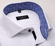 Koszula Eterna Comfort Fit – biała o delikatnej strukturze z wewnętrzną stójką - krótki rękaw