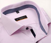 Koszula Eterna Slim Fit Twill – różowa z niebieskobiałym kołnierzykiem wewnętrznym