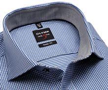 Koszula Olymp Level Five – z wyszytym niebieskim wzorem i szarą wewnętrzną stójką - extra długi rękaw