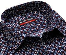 Koszula Marvelis Body Fit – z czerwono-niebiesko-białym wzorem - krótki rękaw