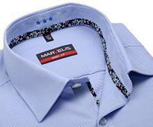 Koszula Marvelis Body Fit – w jasnoniebieskie poziome paski z wewnętrzną plisą - krótki rękaw