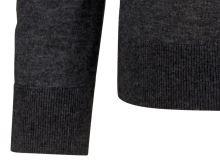 Sweter Olymp Level Five z wełny merino z domieszką jedwabiu - antracytowy - dekolt w serek