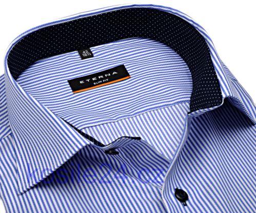 Koszula Eterna Slim Fit Twill – w niebieskie prążki z kołnierzykiem wewnętrznym i mankietami