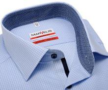 Koszula Marvelis Modern Fit – w jasnoniebieską krateczkę z wewnętrzną stójką - krótki rękaw