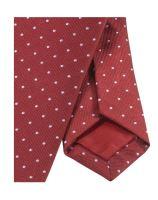 Krawat slim Olymp – czerwony z tkanymi białymi kropeczkami