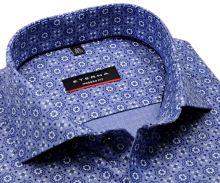 Koszula Eterna Modern Fit jodełka - designerska niebiesko-biała z nadrukowanym wzorem - extra długi rękaw