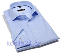 Koszula Eterna Slim Fit - jasnoniebieska z delikatną strukturą, kołnierzykiem wewnętrznym i mankietami