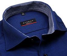 Koszula Eterna Modern Fit – ciemnoniebieska o delikatnej strukturze z wewnętrzną stójką - krótki rękaw