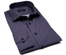 Koszula Eterna Comfort Fit - designerska niebiesko-brązowa z nadrukowanym wzorem