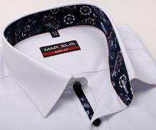 Koszula Marvelis Body Fit – biała z niebiesko-czerwono-białą wewnętrzną stójką i plisą
