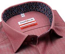 Koszula Marvelis Modern Fit – czerwona w jodełkę z wewnętrzną stójką i mankietem