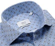 Koszula Eterna 1863 Slim Fit Two Ply NEVER IRON - luksusowa jasnoniebieska z okrągłym wzorem