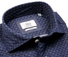Koszula Eterna Slim Fit 1863 Super Soft - luksusowa ciemnoniebieska z wyszytym wzorem