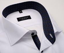 Koszula Eterna Comfort Fit - biała z czerwono-niebieską wewnętrzną stójką - extra długi rękaw