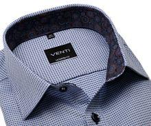 Koszula Venti Modern – w niebieskie kratki, wewnętrzną stójką i mankietem - super długi rękaw