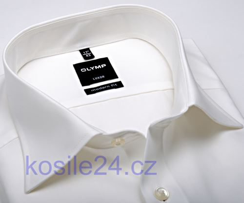 Koszula Olymp Luxor Modern Fit Uni Popeline - w kolorze champagne - krótki rękaw