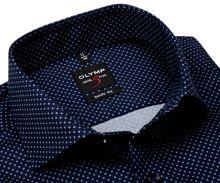 Koszula Olymp Level Five – ciemnoniebieska w drobny biały wzór