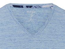 Jasnoniebieski lniany t-shirt Olymp Level Five z krótkim rękawem - dekolt V