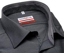 Koszula Marvelis Modern Fit – szaro-czarna koszula w wyszyty wzór z wewnętrzną stójką i plisą