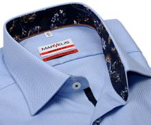 Koszula Marvelis Modern Fit – jasnoniebieska z diagonalnym wzorem i wewnętrzną stójką - extra długi rękaw
